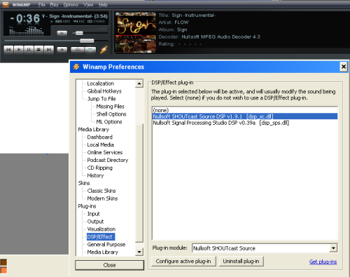 pengaturan plugin shoutcast