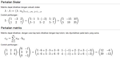 contoh perkalian skalar dan perkalian matriks